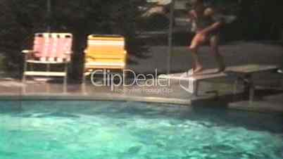 Fun in the swimming pool 1974 vintage 8mm film royalty free video and stock footage for The swimming pool movie online