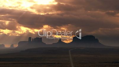 Monument Valley with Time-lapse Cloud
