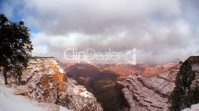 Time-lapse Clouds Over Grand Canyon Snow