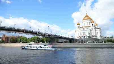 Video footage clip cathedral of christ the saviour moskva river
