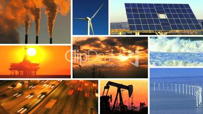 Montage of Renewable Energy & Fossil Fuel Pollution
