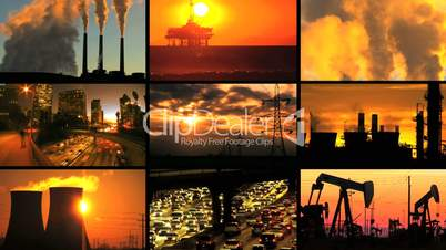 Montage of Clean Energy Production & Fossil Fuel Pollution