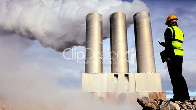 Engineer by Geothermal Chimneys Pumping Steam