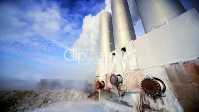 Geothermal Power Station in Isolated Landscape