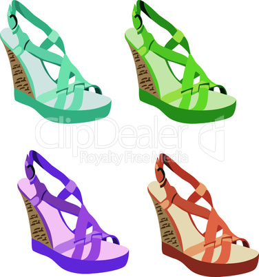 Women's shoes. Womanish sandals on a white background