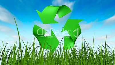 Recycle symbol in grass
