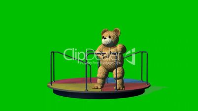 Cartoon%teddy%bear%moves%carousel% %green%screen