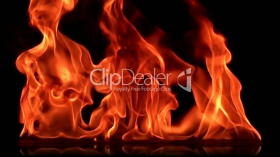 Real fire in slow motion