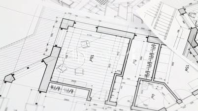 Pliers And Architectural Blueprints Royalty Free Video