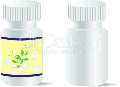 Two realistic bottles with tablets are isolated on white background