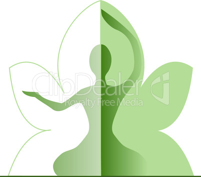 Silhouette of a woman with green leafs